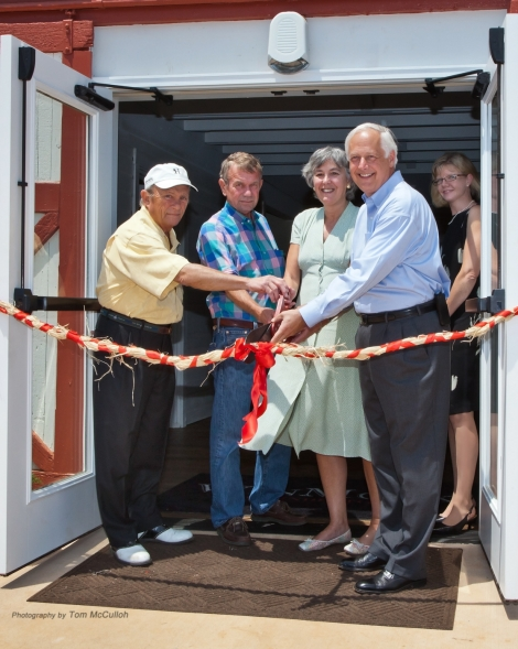 WinMock Ribbon Cutting - (L to R) William Burnette of Hillsdale Group, developers of Kinderton; Bert Bahnson, of Bahnson family, former owner of WinMock Barn; Jackie Wililams Kay, granddaughter of S. Clay Williams, original owner of WinMock barn; Wayne Thomas, president of Sterling Events Group, developer of WinMock at Kinderton